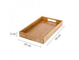 Bandeja Retangular 40x25cm Bambu - Mimo Style