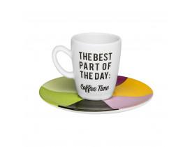 Conjunto com 6x Xícaras/Pires de Café Expresso 75ml Coffee Time - Oxford
