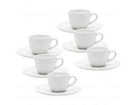 Conjunto com 6x Xícaras/Pires de Cafezinho 75ml Coup White - Oxford