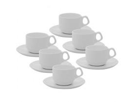 Conjunto com 6x Xícaras/Pires Empilhável de Café Expresso 75ml Branco - Oxford