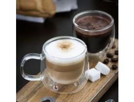 Conjunto de Xícaras de Vidro Duplo para Café 80ml com Alça - Mimo Style