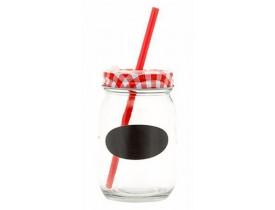 Jogo 6x Copo Retrô Vidro com Canudo Mini Lousa 450ml Vermelho - Mimo Style