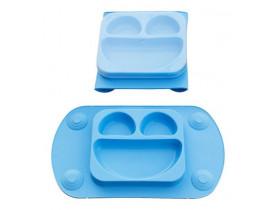 Prato Infantil Smile Silicone Azul - Mimo Style