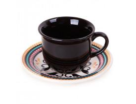 Conjunto com 6x Xícaras de Chá 200ml com Pires Floreal Luiza - Oxford