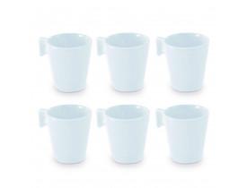 Conjunto com 6x Xícaras de Mini Caneca Branca de 80ml - Mimo Style