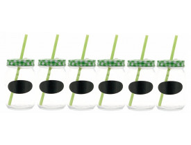 Jogo 6x Copo Retrô Vidro com Canudo Mini Lousa 450ml  Verde - Mimo Style
