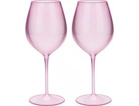 Jogo 2x Taças Vinho de Rosa Cristal 580ml em Acrílico - Boccati