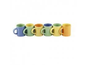 Jogo de Mini Canecas Bicolor para Café 6 Peças - Mimo Style