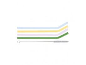 Kit 4x Canudos de Vidro e 1x Escova Coloridos - Oxford