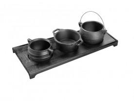 Kit Miniatura de Ferro Fundido com 3 Panelas e Chapinha - Fumil
