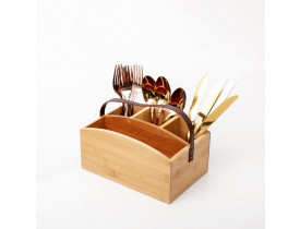Porta Talheres Bambu com Alça em Couro - Mimo Style