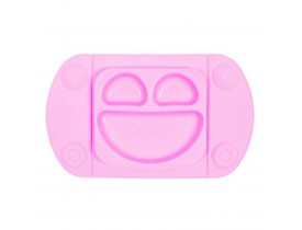 Prato Infantil Smile Silicone Rosa - Mimo Style